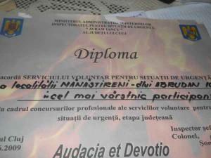 Diploma pentru cel mai vârstnic pompier volutar
