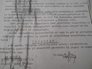 Nota de la Securitate în care se cere lucrarea părintelui prin D.U.I. (dosar de urmărire individuală)
