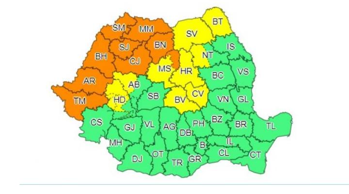 Clujul, sub o nouă avertizare de cod portocaliu de furtuni și vijelii